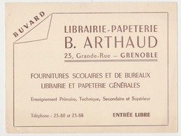 Buvard  20.8 X 15.7  Librairie-Papeterie B. ARTHAUD  23, Grande Rue Grenoble Isère  Marron Sur Blanc - Stationeries (flat Articles)