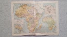 CARTE AFRIQUE MADAGASCAR LA REUNION COMORES BAS CONGO BASSE EGYPTE  RECTO VERSO  IMP LEMERCIER 42 X 31 CM - Cartes Géographiques