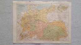 CARTE ALLEMAGNE AUTRICHE HONGRIE RECTO VERSO  IMP LEMERCIER  42 X 31 CM - Geographical Maps