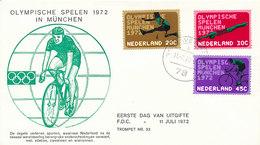 DC-1001 FDC NETHERLANDS 1972 OLYMPICS CYCLING - Summer 1972: Munich