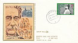 DC-1007 FDC NETHERLANDS 1975 ALBERT SCHWEITZER - SILK EMBLEM - Albert Schweitzer