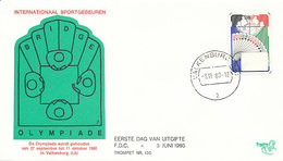 DC-1010 FDC NETHERLANDS 1980 BRIDGE PLAYING CARDS - Stamps