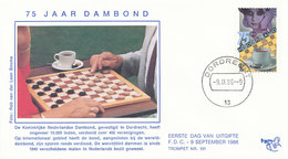 DC-1015 FDC NETHERLANDS 1986 DRAUGHTS CHECKERS - Stamps