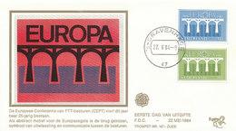 DC-1034 FDC NETHERLANDS EUROPA CEPT 1984 BRIDGES - SILK EMBLEM - Europa-CEPT