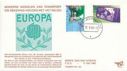 DC-1038 FDC NETHERLANDS EUROPA CEPT 1988 TRAFFIC CYCLING BIKE - Europa-CEPT