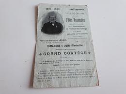 Programme Ville De Genappe Fêtes Nationales 1830-1905 Voir Photos - Programmi