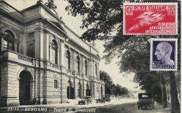 BERGAMO TEATRO G. DONIZETTI 1935 AUTO D'EPOCA OLDTIMER CARS BELLA AFFRANCATURA - Bergamo