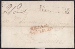 """1829. BÉJAR A LONDRES. MARCA """"BEJAR/CAST.LA VIEJA"""". MARCA DE FRONTERA DE SAN JUAN. PORTEO MNS. 2/2 CHELINES/PENIQUES. - ...-1850 Prefilatelia"""