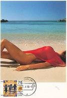 D35017 CARTE MAXIMUM CARD FD 1996 NETHERLANDS - FEMALE NUDE ON THE BEACH - POSTMARK NOORDWIJK CP ORIGINAL - Holidays & Tourism