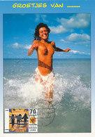 D35019 CARTE MAXIMUM CARD FD 1996 NETHERLANDS - FEMALE NUDE ON THE BEACH - POSTMARK NOORDWIJK CP ORIGINAL - Holidays & Tourism