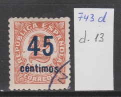 VARIEDAD DENTADO: REPÚBLICA 1938 45 CTS SOBRE 2 CTS. RARO USADO - 1931-Aujourd'hui: II. République - ....Juan Carlos I
