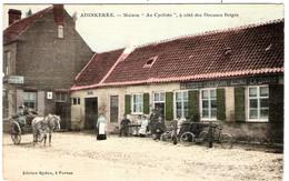 BELGIQUE Flandre La Maison Au Cycliste Près Des Douanes D'ADINKERKE Carte Toilée - Belgique