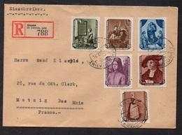 DDR - RDA - STENN / 19-12-1956 MICHEL # 504/509 AUF SATZ R-BRIEF NACH FRANKREICH / KW >45.00 EURO (ref 6074) - [6] Repubblica Democratica