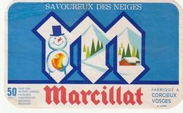Rare  étiquette Fromage Le Savoureux Des Neiges Marcillat Vosges  Format 7 X 11.5 Cm - Quesos