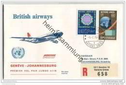 Brief United Nations - British Airways - Premier Vol Par Jumbo Geneve-Johannesburg - 5. Juli 1976 - Suisse
