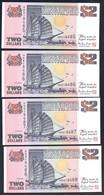 Singapore - 2 Dollars 1992 - P28 X 4 Pcs. Consecutive Serial Nr. - Singapour