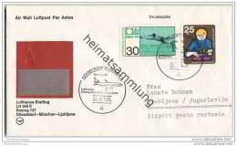 Brief Lufthansa-Erstflug LH 368 R Boeing 737 - Düsseldorf-München-Ljubljana - 24. Juni 1974 - [7] République Fédérale