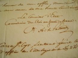 L.A.S 1827 Comte A. De PASTORET Au Cte CARRA SAINT CYR (Ltn Général Armées Du Roi) ROCHEMUR Lettre Autographe LAS - Autographes
