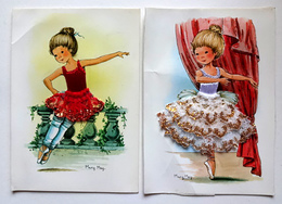 2 CP ESPAGNE  CARTE  BRODÉE  DENTELLE DOREE   . JEUNE DANSEUSE - Embroidered