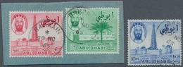 Abu Dhabi: 1964 'Sheikh Shakhbut Bin Sultan' 1r., 5r. And 10r. All USED IN BAHRAIN, 1r. And 5r. Tied - Abu Dhabi