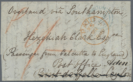 Aden: 1848 Part Of An Entire Posted At Leamington On 2nd March 1848, Addressed To A Passenger From C - Aden (1854-1963)