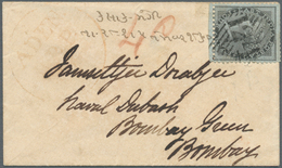 Aden: ADEN 1855-60 Ca.: Small Cover Sent From Aden To Bombay Franked By India 1855 4a. Black On Blui - Aden (1854-1963)