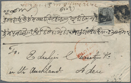 """Aden: 1858 Cover From Bombay To ADEN Per Steamer """"Auckland"""", Franked By 1855 4a. Black On Bluish Pap - Aden (1854-1963)"""