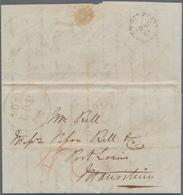 "Aden: 1861 Enire From Aden (written Aboard Ship ""Amoor"") To Mauritius, Bearing Large Circled ""ADEN/B - Aden (1854-1963)"