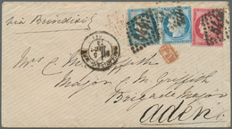 Aden: 1873 Cover From Boulogne-sur-Mer To ADEN Via Paris And Brindisi, Franked By Ceres 25c. Pair An - Aden (1854-1963)