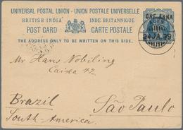 Aden: ADEN 1899 - Destination BRAZIL: Indian P/s Card 1a. On 1½a. Blue From Aden To SAO PAULO, Brazi - Aden (1854-1963)