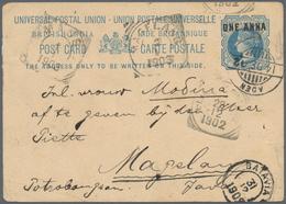 "Aden: 1902, Stationery Card QV 1 A. On 1 1/2 A. Tied ""ADEN 14 DE 02"" (Robertson Type 24b) To Java/Du - Aden (1854-1963)"
