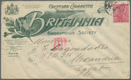"Aden: 1915 ""Egyptian Cigarette Manufactory BRITANNIA In ADEN"": Two Advertising Envelopes (one In Bro - Aden (1854-1963)"