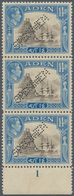 Aden: 1939-48 KGV. 14a. Sepia & Light Blue, Vertical Strip Of Three All Perforated SPECIMEN, With Lo - Aden (1854-1963)