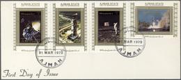 Adschman / Ajman: 1973, U.S. Space Achievements, Complete Set Of 16 De Luxe Sheets Perf./imperf. Eac - Ajman
