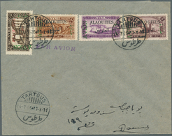 """Alawiten-Gebiet: 1926, Flight Cover """"TARTOUS - DAMASCUS"""", Dated 14/7/1926, Franked With Air Mail Set - Unused Stamps"""