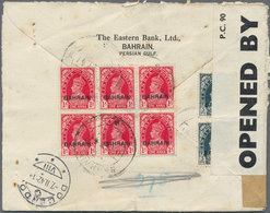 """Bahrain: 1942, KGVI 1 A. (block-6, 3x2) And 3 Ps. (pair) Tied """"BAHREIN 17 JLY 41"""" To Registered Cove - Bahrain (1965-...)"""