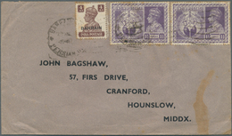 Bahrain: 1946 Cover To England Bearing Mixed Franking Of Bahrain KGVI. 1942-45 4a. Brown In Combinat - Bahrain (1965-...)