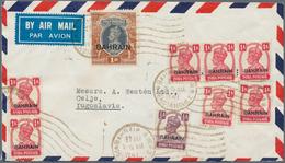 """Bahrain: 1947, KGVI 1 R., 1 A. (7) And 1/2 A. Tied """"BAHREIN 27 MAR 1947 PERSIAN GULF"""" To Air Mail Co - Bahrain (1965-...)"""