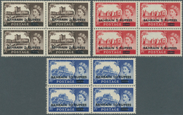 """Bahrain: 1955, Overprints On GB """"Castles"""", Three Values Each As Block Of Four, Unmounted Mint (some - Bahrain (1965-...)"""