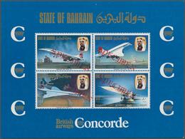 Bahrain: 1976, Concorde First Flight Bahrain-London, Souvenir Sheet With Four Diagonal Red SPECIMEN - Bahrain (1965-...)