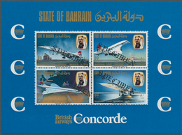 Bahrain: 1976, Concorde First Flight Bahrain-London, Souvenir Sheet With Four Diagonal Black SPECIME - Bahrain (1965-...)