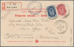 "Batum: 1903, Russia 4 K. And 10 K. Tied ""BATUM KUTAIS 20 XII 1902"" To Registered Ppc (2, Caucas Type - Batum (1919-1920)"