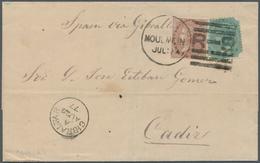 Birma / Burma / Myanmar: Burma 1877: Envelope Addressed To Cadiz Bearing India SG 58, 1a Brown And S - Myanmar (Burma 1948-...)