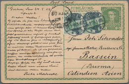 Birma / Burma / Myanmar: 1909, 5 Pfg. Germania, Horizontal Pair On Austrian Stat. Card Sent From GUB - Myanmar (Burma 1948-...)