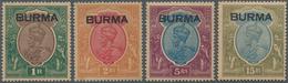 Birma / Burma / Myanmar: 1937 KGV. High Values 1r., 2r., 5r. And 15r. All Mint Never Hinged, Toned, - Myanmar (Burma 1948-...)