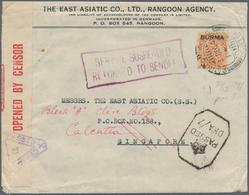 "Birma / Burma / Myanmar: 1941, Service Suspended Mail To Singapore: KGV 2 Sh. 6d With Perfin ""EAC"" ( - Myanmar (Burma 1948-...)"