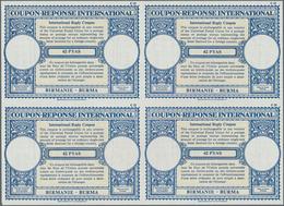 Birma / Burma / Myanmar: 1964. International Reply Coupon 62 Pyas (London Type) In An Unused Block O - Myanmar (Burma 1948-...)