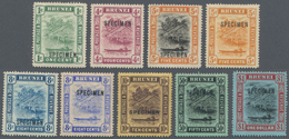 Brunei: 1908/1916, 'Huts And Canoe' Colour Changes Nine Different Stamps Incl. 5c. Orange, 8c. Grey - Brunei (1984-...)