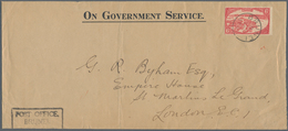 Brunei: 1931 (9.4.), Native Houses Water Village 6c. Scarlet Single Use On 'ON GOVERNMENT SERVICE' ( - Brunei (1984-...)