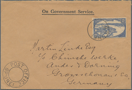 """Brunei: 1936, 12 C Blue, Single Franking On """"On Government Service"""" Cover With Cds BRUNEI, (...)1936 - Brunei (1984-...)"""